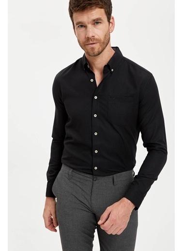 DeFacto Uzun Kollu Modern Fit Oxford Gömlek Siyah